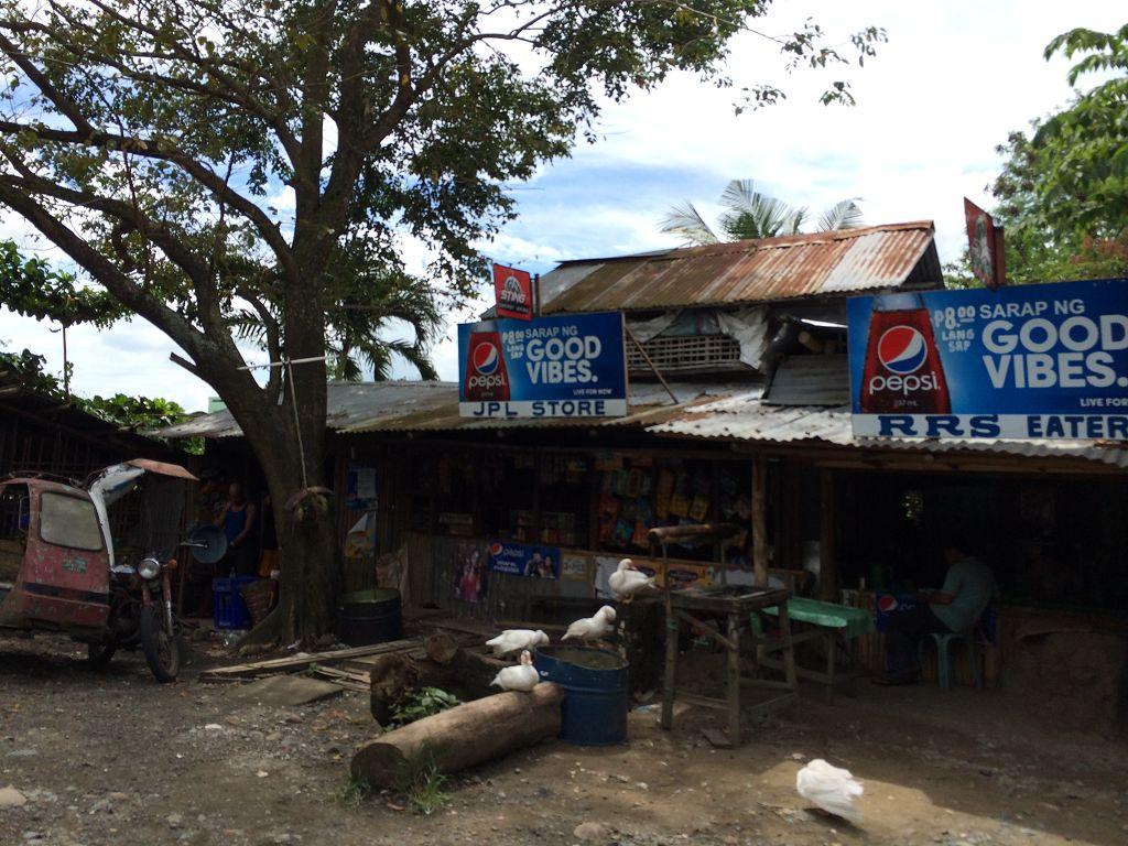 Diese Art von Werbetafeln kannst du überall über den kleinen Geschäften hier in den Philippinen sehen! (hier: in der Provinz Iloilo)